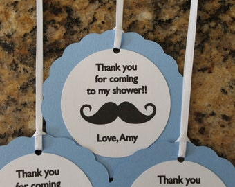 Mustache Thank You Tags