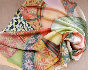 Angel wings silk scarf. Spring flowers hand painted silk scarf. Olive green, nectarine flowers scarf . Made to order!