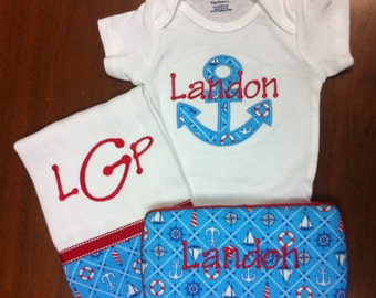Monogrammed Baby Boy Gift Set (Includes monogrammed one-piece, monogrammed burp cloth and monogrammed baby wipe case.