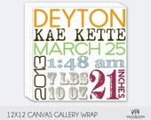Birth Announcement  Wall Art - Great Baby Shower Gift 12x12