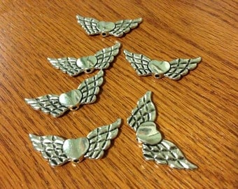 Jewelry supplies - Jewelry diy - Angel charms - Angel Wings with Heart - 6 pcs