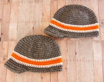 Striped Newsboy Style Hat with Brim - Crochet Boys Hat - Boys Winter Hat