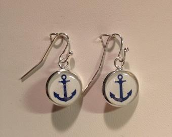 Navy Anchor Earrings