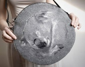 KOALA round felt BAG. Gray felt and felted merino pure wool. - Uczarczyk