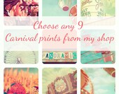 Carnival Print Collection, discount set, set of 9, nursery art, vintage circus, ferris wheel, carousel, soft pastels