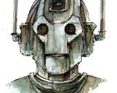 """Doctor Who """"Cyberman"""" Fine art print of my original illustration in various sizes"""