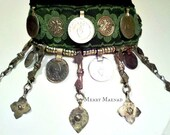 Green lace Tribal Fusion Belly Dance choker. OOAK necklace with Kuchi coins and Turkoman amulets. Womens ethnic jewelry.