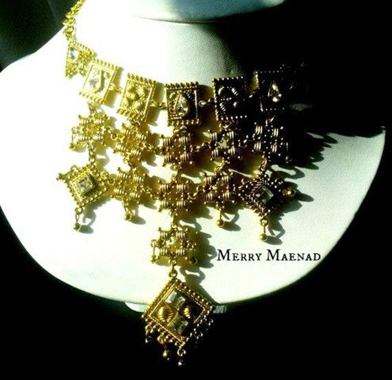 Ancient Greek inspired statement necklace - Anassa - Gold & rhinestone OOAK womens ethnic jewelry