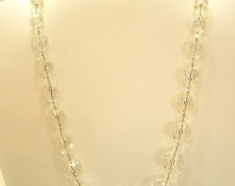 Vintage GLASS CRYSTAL NECKLACE, Graduating beads........gorgeous...(3359).