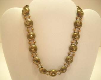 "Vintage 13"" COPPER PLATED NECKLACE, Rhinestones (3791)"