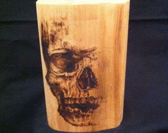 Skull Bookend - paperweight - 100 year old Redwood - skull pyrography