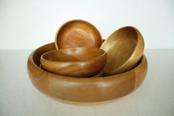 Vintage baribocraft wooden salad bowl set