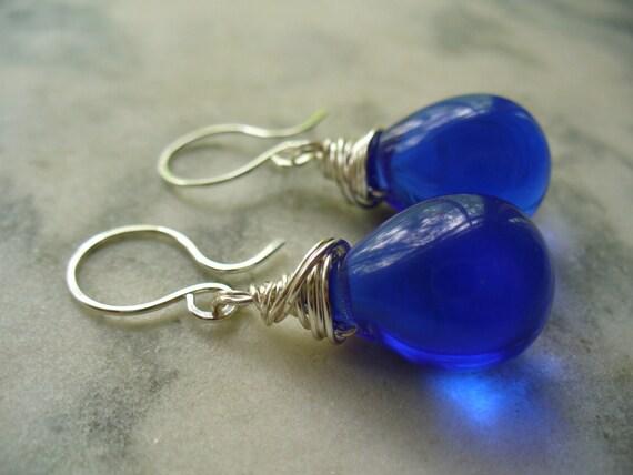 Bold and Blue Puffy Teardrop Beaded Earrings - Wire Wrapped Dangle Earrings