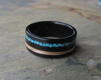 Bentwood Ebony Ring With Oak and Turquoise Inlay Wedding Ring Anniversary Band