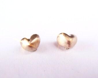 Mini Petite Hearts Solid 14K Rose Gold Stud Earrings