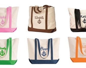 Personalized Anchor Tote Bag - Personalized Canvas Tote Bag with Anchor