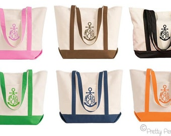 Anchor Tote Bag - Canvas Tote Bag with Anchor Monogram - Personalized