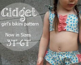 Gidget - Girl's Bikini Sewing Pattern. Retro Swimsuit Pattern. Girl Sewing Pattern. Kids Swimwear Sizes 3,4,5,6