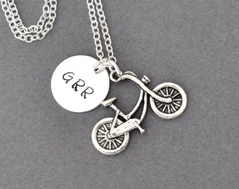 Bike Necklace, Initials Necklace, Bicycle Necklace, triple initial, Sports Jewelry, Bike Team, cycling necklace, 3 initial necklace