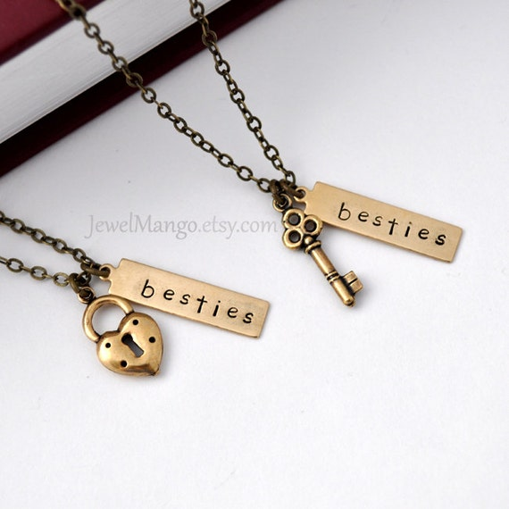 best friend necklace, friendship necklace bff, key and lock necklace ...