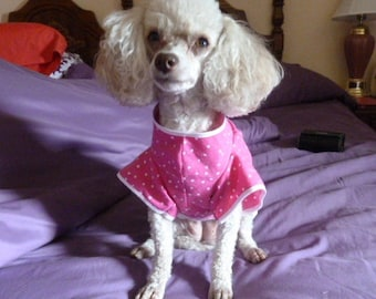 Dog Clothes, Cute and Comfy Puppy Dress in Hot Pink, White Polkadots and White Lace with Velcro Closing