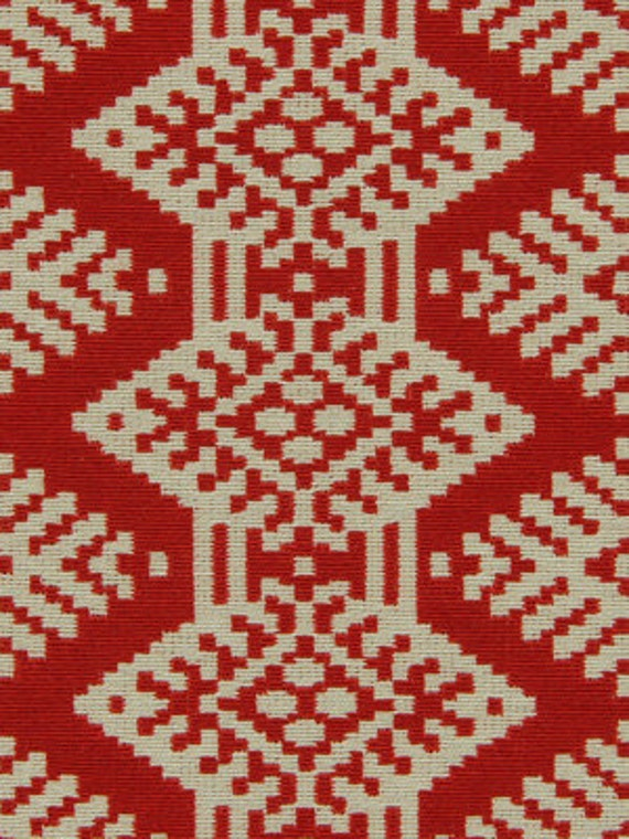On Sale Red White Ikat Upholstery Fabric