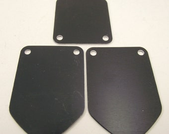 5 Large Black Anodized Aluminum Shield Tags, Large Blank Discs, Blank Stamping Tags