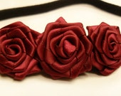 Burgundy Roses Elastic Hairband, Red Rose Stretchy Headband, Red Ribbon Flower Elastic Headband