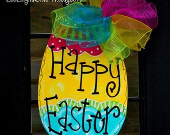 Easter Door Hanger, Unfinished Wood Decor, Easter Decoration, Easter Egg Door Hanger, Wooden Easter Egg Decor