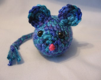 Cat Toy - Crochet Mouse - Catnip Filled Multi Colored Blue and Purple Mouse - Ocean Colored Mouse