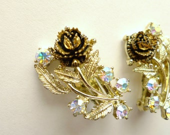 Silver and Copper Gold Aurora Borealis Flower Vintage Clip Earrings