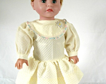 AG Yellow Dress Long Sleeve with Large Collar and Gathered Skirt for American Girl Dolls (DC26)
