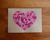 Mosaic Heart Note Card - Fuschia