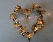 Vintage Metal Heart Wreath Shabby Chic Metal Art Leaf Sculpture Wall Hanging,metal wall art, metal door wreath,wedding decor