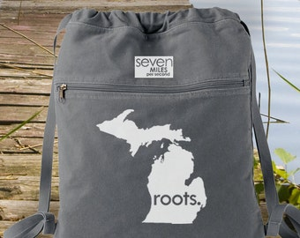 Michigan MI Roots Canvas Backpack Cinch Sack
