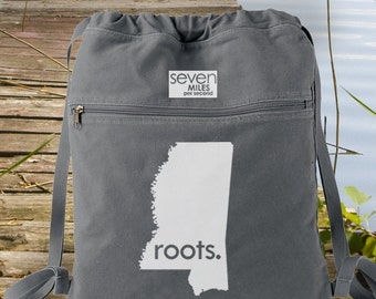 Mississippi MS Roots Canvas Backpack Cinch Sack