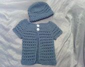 Toddler Spring Crochet short sleeve Sweater and Hat