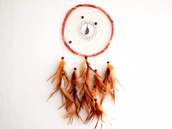 Dream Catcher - Great Many Dreams - With Wooden Moon Amulet and Natural Brown Feathers - Home Decor, Mobile