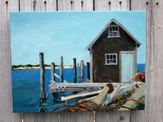 Nautical Art . Coastal Maine Lobster Shack ,Sea Scape , Original Wall Art , Oil paints on Canvas.