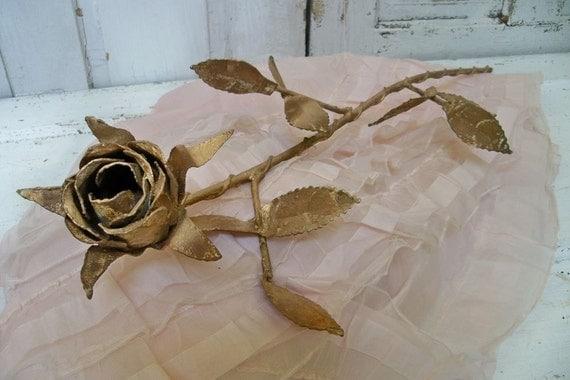 Long stem metal rose sculpture gold and rust romantic French farmhouse Anita Spero