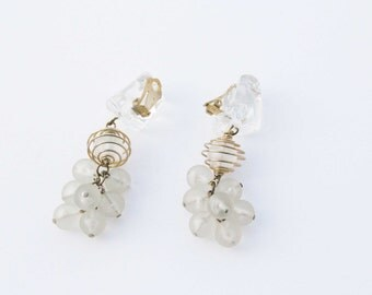 Vintage 1970s clip on earrings, transparent plastic beads, dangling earrings, ice. snow. winter