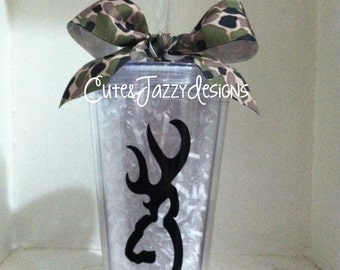 Personalized Deer Theme, 16 oz, Acrylic, BPA Free Tumbler with Straw