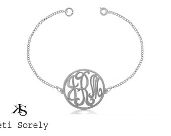 Designer Personalized Initial Bracelet with Frame (Order Any Initials) - Sterling Silver
