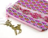 Neon Pink Woodland Zipper Pouch / Deer reindeer makeup bag
