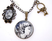 Necklace with Grey French toile Pendant Cameo Charm Romantic bronze chain Grey christmas