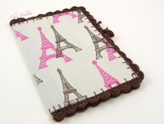 Notebook Paris Eiffel tower French Journal Crochet Fabric Recycled paper