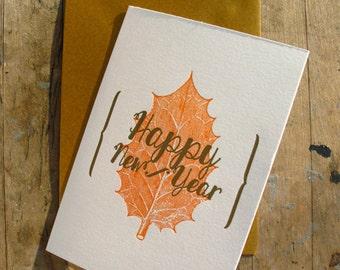 Happy New Year - Orange leef - Letterpressed card