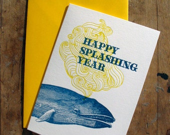 Happy splashing year - Letterpressed card