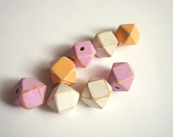 Hand painted Pastel Geometric Mix Wood Beads,Do it Yourself Geometric necklace