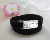 Bling Black Seed Leather Double Wrap Bracelet